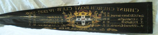Oar blade painted with Arms and names of the 1st Eight, 1908