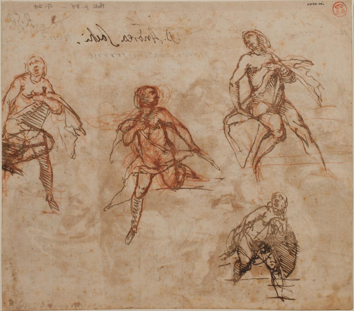 Drawing by Lazzaro Tavarone, 'Four studies for Susanna, or Ba日sheba' (JBS 1241)