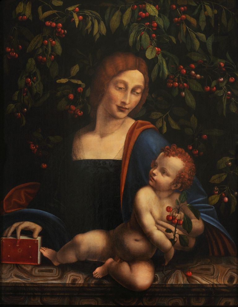'Madonna of the Cherries', a painting by the School of Leonardo da Vinci